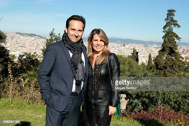 Iker Jimenez and Carmen Porter attends the reception to the Onda Awards 2015 winners press conference at the Palauet Albeniz on November 24 2015 in...