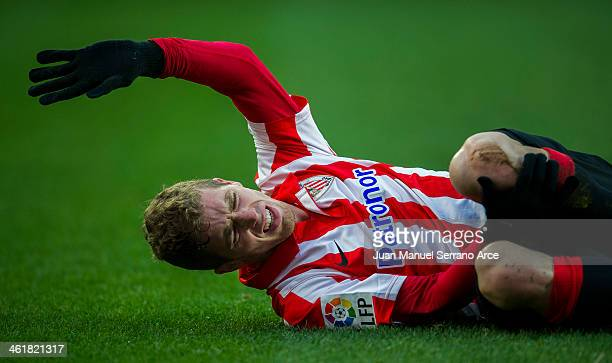 Iker Muniain of Athletic Club Bilbao reacts during the La Liga match between Athletic Club Bilbao and UD Almeria at San Mames Stadium on January 11...