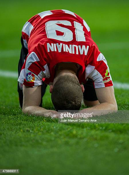 Iker Muniain of Athletic Club Bilbao reacts during the La Liga match between Athletic Club Bilbao and Granada CF at San Mames Stadium on February 28...