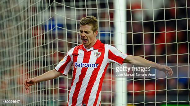 Iker Muniain of Athletic Club Bilbao reacts during the La Liga match between Athletic Club and Getafe CF at San Mames Stadium on March 22 2014 in...