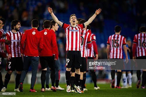 Iker Muniain of Athletic Club celebrates after the Copa del Rey SemiFinal Second Leg match between RCD Espanyol and Athletic Club at CornellaEl Prat...