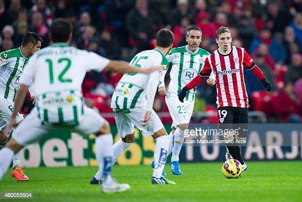 Iker Muniain of Athletic Club controls the ball during the La Liga match between Athletic Club and Cordoba CF at San Mames Stadium on December 6 2014...