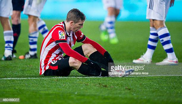 Iker Muniain of Athletic Club reacts during the La Liga match between Real Sociedad and Athletic Club at Estadio Anoeta on December 14 2014 in San...