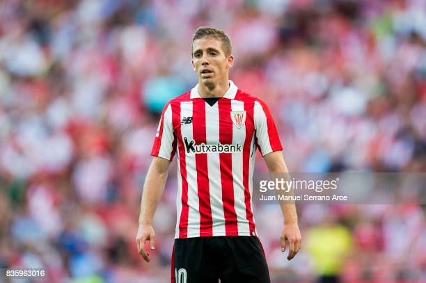 Iker Muniain of Athletic Club reacts during the La Liga match between Athletic Club and Getafe at at San Mames Stadium on August 20 2017 in Bilbao...