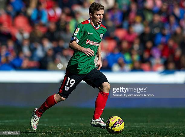 Iker Muniain of Athletic Club runs with the ball during the La Liga match between Levante UD and Athletic Club at Ciutat de Valencia on Februray 01...