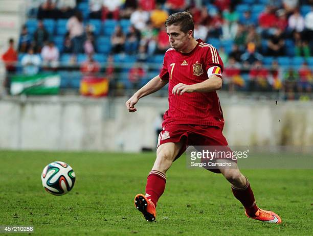 Iker Muniain of Spain controls the ball during the 2015 UEFA European Under21 Championship playoff football match between Spain and Serbia at the...