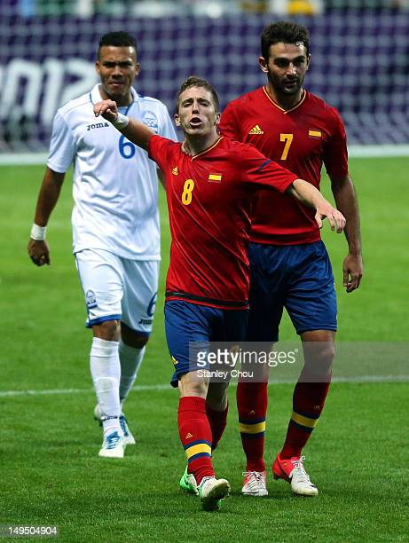 Iker Muniain of Spain reacts during the Men's Football first round Group D match between Spain and Honduras on Day 2 of the London 2012 Olympic Games...