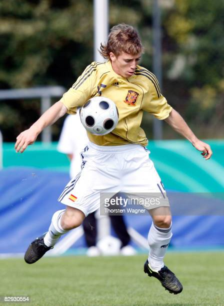 Iker Muniain of Spain runs with the ball during the U17 international friendly match between Germany and Spain at the Kieselhumes stadium in...