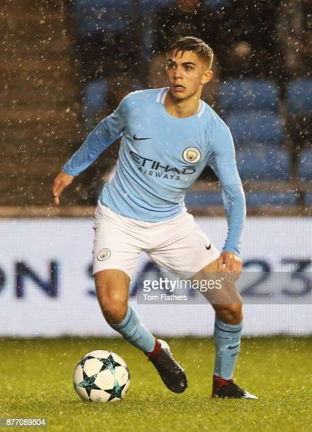 Iker Pozo of Manchester City in action during the UEFA Youth League Group F match between Manchester City and Feyenoord at Manchester City Football...