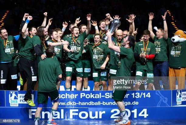 Iker Romero of Berlin celebrate with his team mates afer winning the DHB Pokal handball final match between Flensburg Handewitt and Fuechse Berlin at...