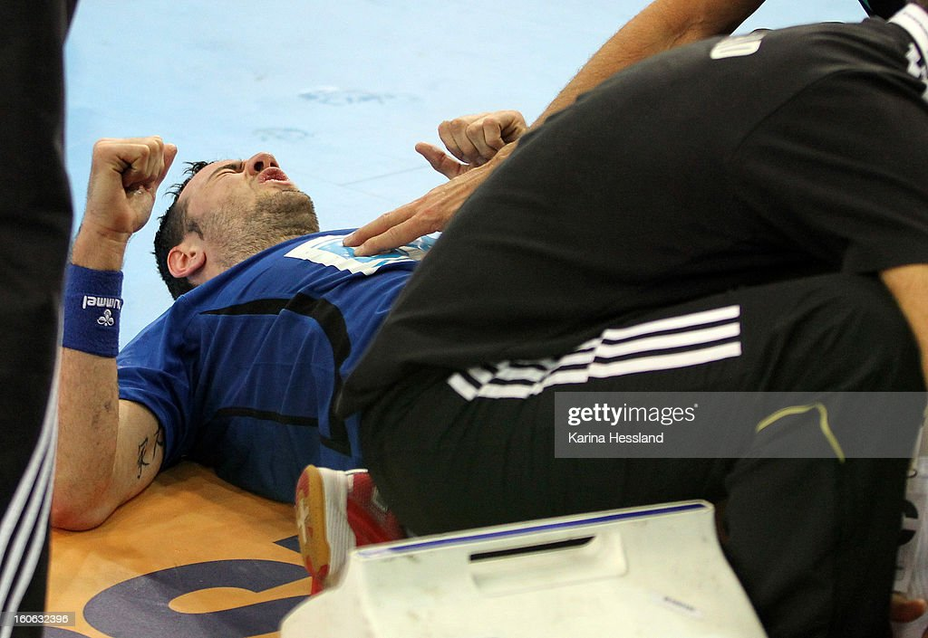 Iker Romero of Bundesliga All Stars lies on the floor with pain during the match between Germany and Bundesliga All Stars on February 2, 2013 in Leipzig, Germany.