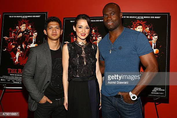 Iko Uwais Julie Estelle and Uriah Hall attend 'The Raid 2' special screening at Sunshine Landmark on March 17 2014 in New York City