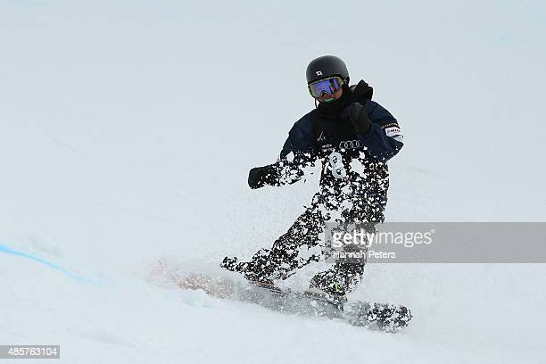 Ikumi Imai of Japan competes in the FIS Snowboard World Cup Halfpipe Finals during the Winter Games NZ at Cardrona Alpine Resort on August 30 2015 in...