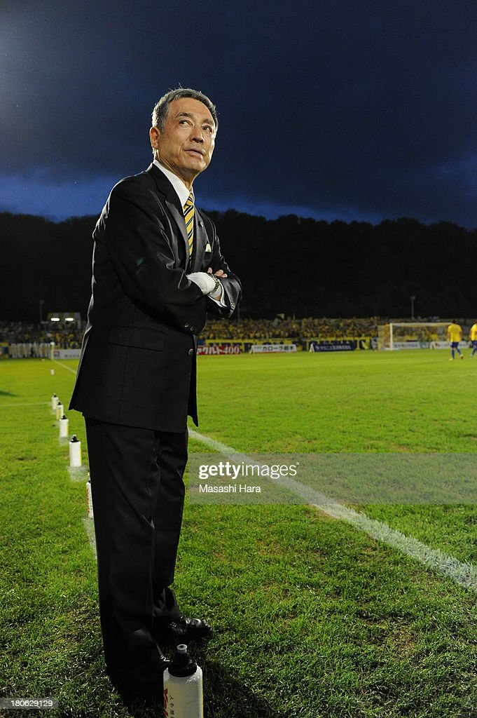 Ikuo Matsumoto,new coach of Tochigi SC looks on prior to the J.League second division match between Tochigi SC and Consadole Sapporo at Tochigi Green Stadium on September 15, 2013 in Utsunomiya, Japan.