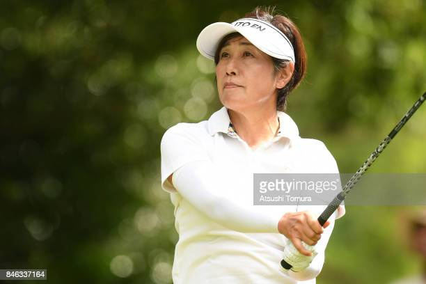 Ikuyo Shiotani of Japan hits her tee shot on the 18th hole during the first round of the LPGA Legends Champioship KRY Cup at Shunan Country Club on...