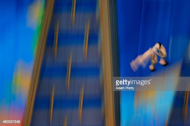 Il Myong Hyon and Sun Bom Kim of the Democratic People's Republic of Korea compete in the Men's 10m Platform Synchronised Diving Final on day two of...