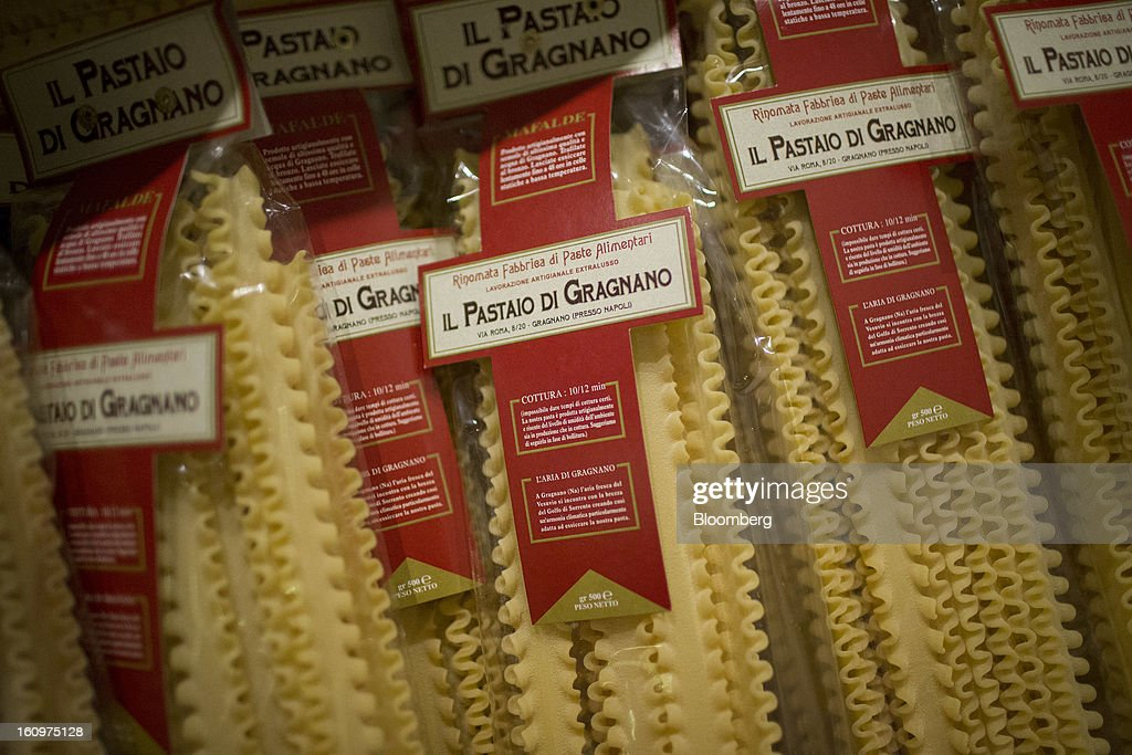 Il Pastaio di Gragnano pastas are displayed for sale at an Eataly location in the Flatiron district of New York, U.S., on Wednesday, Feb. 6, 2013. Eataly is a high-end Italian food market/mall chain, owned by a partnership including Mario Batali, Lidia Bastianich and Joe Bastianich, which first opened in Turin, Italy, in 2007. Photographer: Scott Eells/Bloomberg via Getty Images