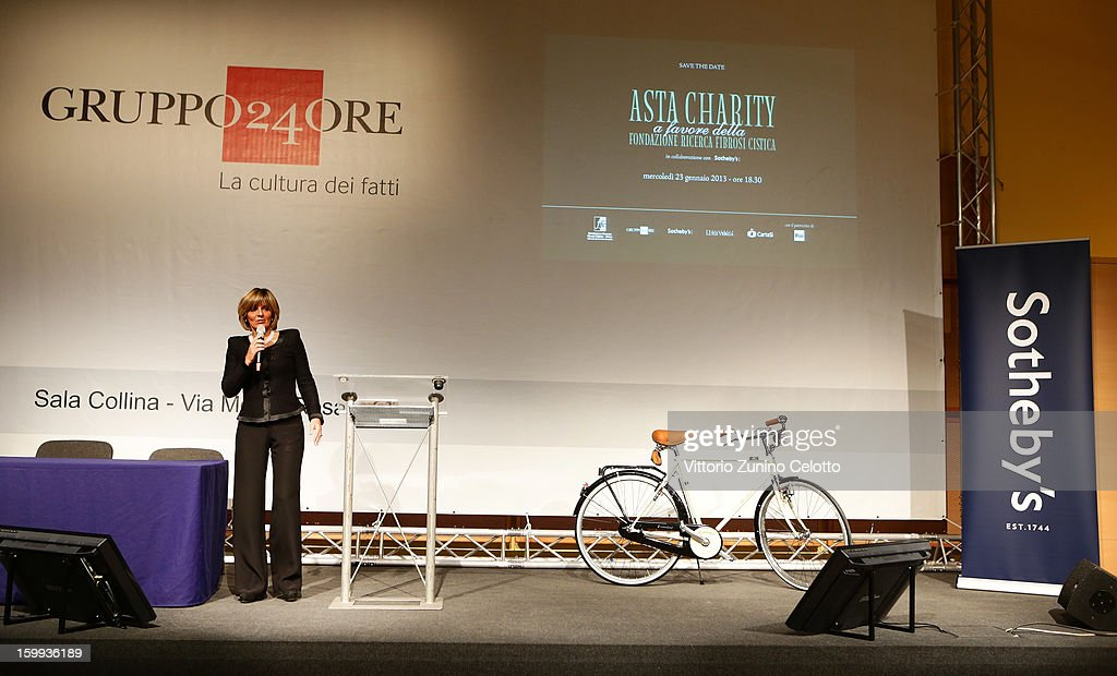 Il Sole 24 Ore General Manager Donatella Treu speaks during the Sotheby's charity auction for FFC Onlus on January 23, 2013 in Milan, Italy.