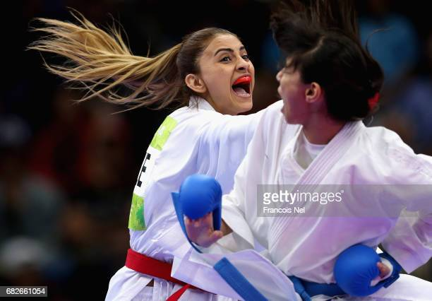 Ilaha Gasimova of Azerbaijan and Yassmin Attia of Egypt competes with in the Women's Karate Kumite 55 kg gold medal match during day two of Baku 2017...