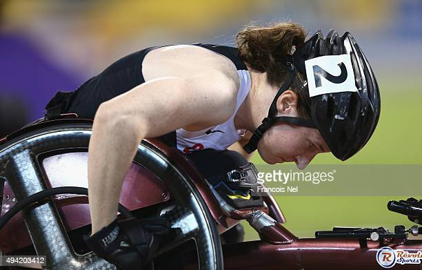 Ilana Dupont of Canada competes in the women's 400m T53 final during the Evening Session on Day Four of the IPC Athletics World Championships at...