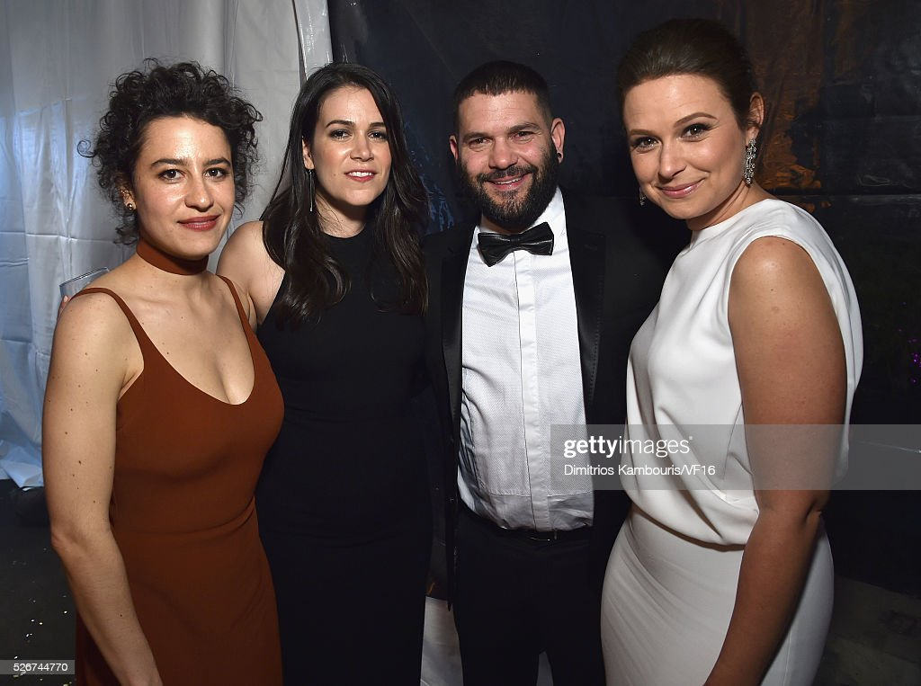 Ilana Glazer, Abbi Jacobson, Guillermo D��az and Katie Lowes attend the Bloomberg & Vanity Fair cocktail reception following the 2015 WHCA Dinner at the residence of the French Ambassador on April 30, 2016 in Washington, DC.