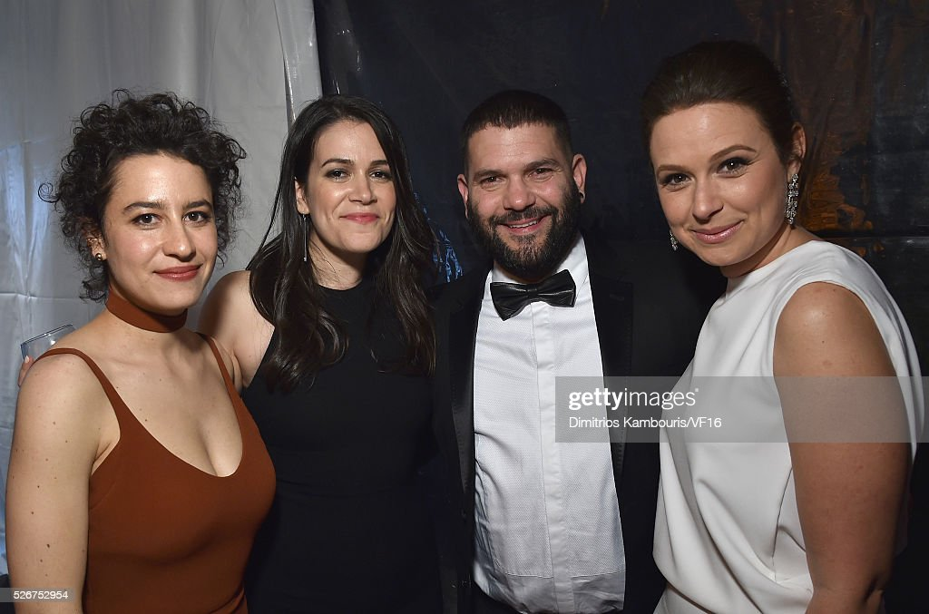 Ilana Glazer, Abbi Jacobson, Guillermo Diaz and Katie Lowes attend the Bloomberg & Vanity Fair cocktail reception following the 2015 WHCA Dinner at the residence of the French Ambassador on April 30, 2016 in Washington, DC.