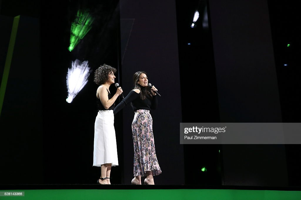 Ilana Glazer an Abbi Jacobson of Broad City speak onstage at the 2016 Hulu Upftont on May 04, 2016 in New York, New York.