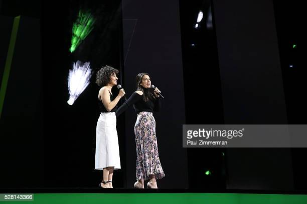 Ilana Glazer an Abbi Jacobson of Broad City speak onstage at the 2016 Hulu Upftont on May 04 2016 in New York New York