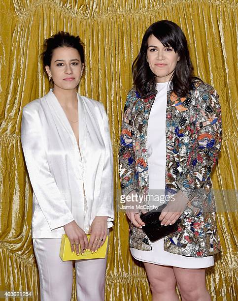 Ilana Glazer and Abbi Jacobson arrive at the Alice Olivia presentation during MercedesBenz Fashion Week Fall 2015 on February 16 2015 in New York City