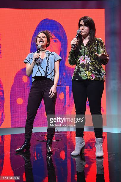 Ilana Glazer and Abbi Jacobson of Broad City speak onstage at Spotify Press Announcement on May 20 2015 in New York City