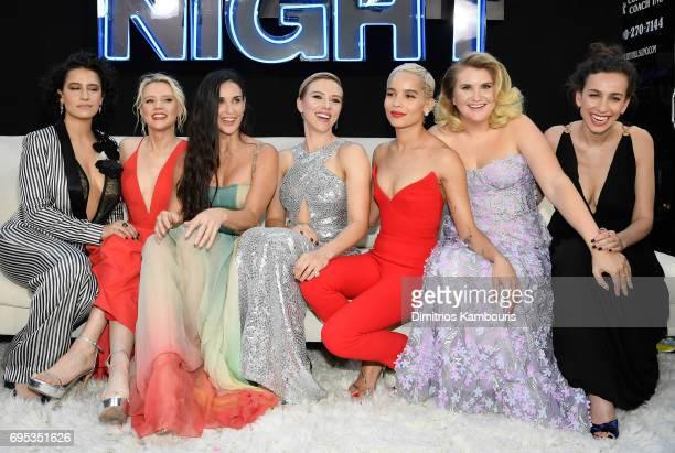 Ilana Glazer Kate McKinnon Demi Moore Scarlett Johansson Zoe Kravitz Jillian Bell and Lucia Aniello attend the 'Rough Night' premeire at AMC Loews...
