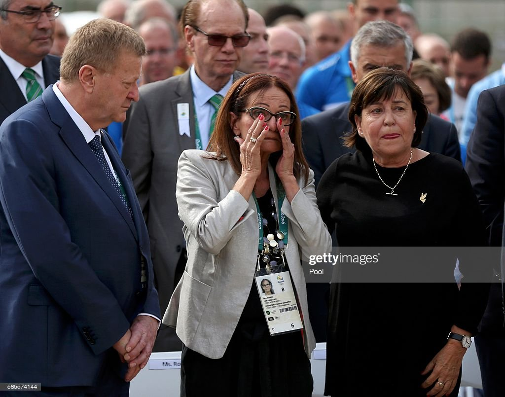 Ilana Romano and Ankie Spitzer wives of Israeli athletes killed by Palestinian militants at the 1972 Olympic Games in Munich Germany attend the...