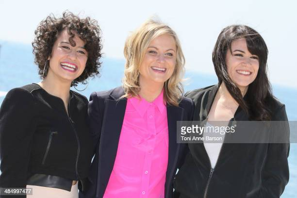 Ilana Wexler Amy Poehler and Abbi Abrams attend photocall for 'Broad City' at Hotel Majestic Jetty on April 7 2014 in Cannes France