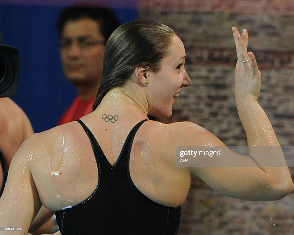 Ilaria Bianchi of Italy celebrates her victory in the women's 100m butterfly final during the Short Course Swimming World Championships in Istanbul on December 16, 2012.