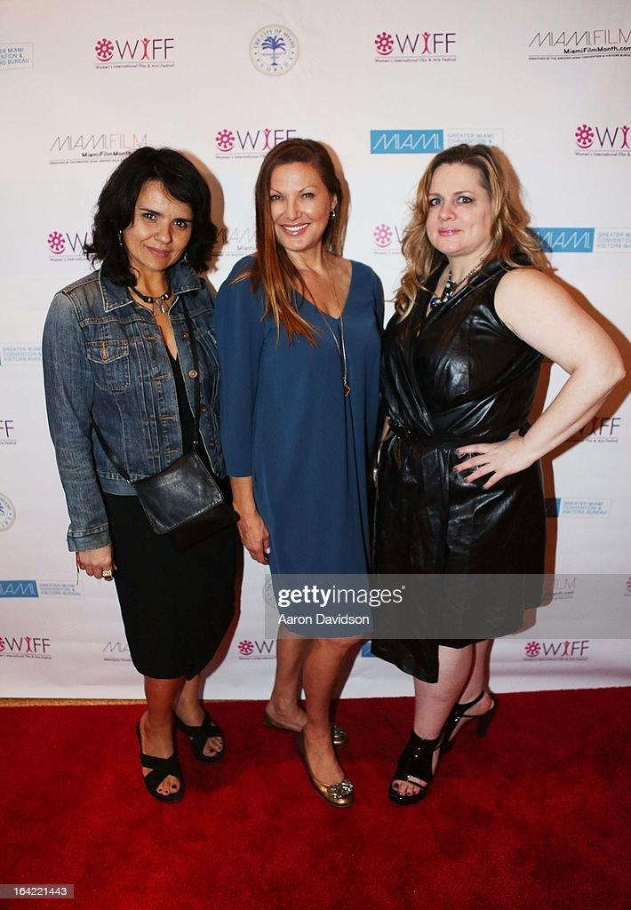 Ilaria borrelli, Lilliana ÊKomorowska. and Jennie WalkerÊ attend opening night screening of 'Free Angela' during the 2013 Women's International Film and Arts Festiva> at Adrienne Arsht Center on March 20, 2013 in Miami, Florida.