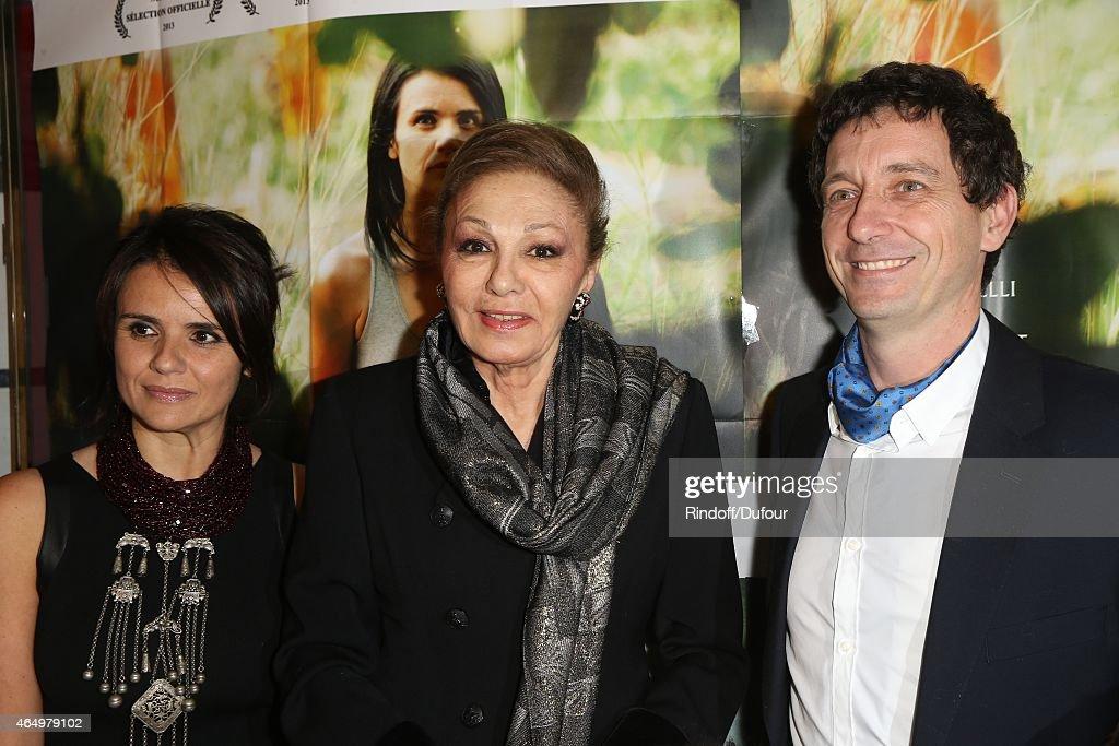 Ilaria Borrelli, SMI Farah Pahlavi and Guido Freddi attend the 'Talking to the Trees-Retour a la Vie' Paris screening at Cinema l'Arlequin on March 2, 2015 in Paris, France.