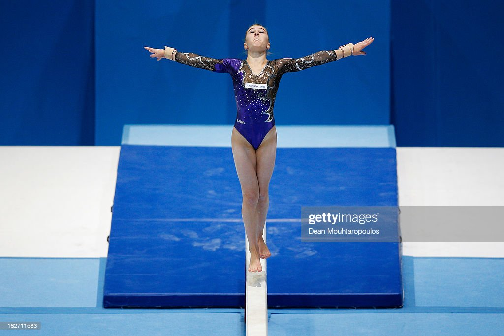 Ilaria Kaeslin of Switzerland competes in the Womens Balance Beam Qualification on Day Three of the Artistic Gymnastics World Championships Belgium 2013 held at the Antwerp Sports Palace on October 2, 2013 in Antwerpen, Belgium.