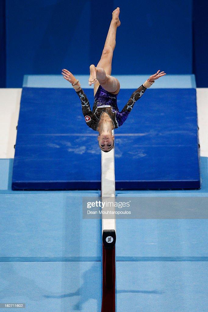 Ilaria Kaeslin of Switzerland competes in the Womens Balance Beam Qualification on Day Three of the Artistic Gymnastics World Championships Belgium...