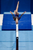 Ilaria Kaeslin of Switzerland competes in the Womens Balance Beam Qualification on Day Three of the Artistic Gymnastics World Championships Belgium...