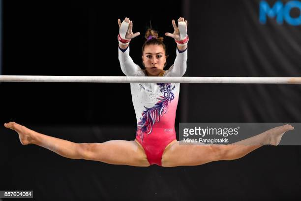 Ilaria Kaeslin of Switzerland competes on the uneven bars during the qualification round of the Artistic Gymnastics World Championships on October 4...