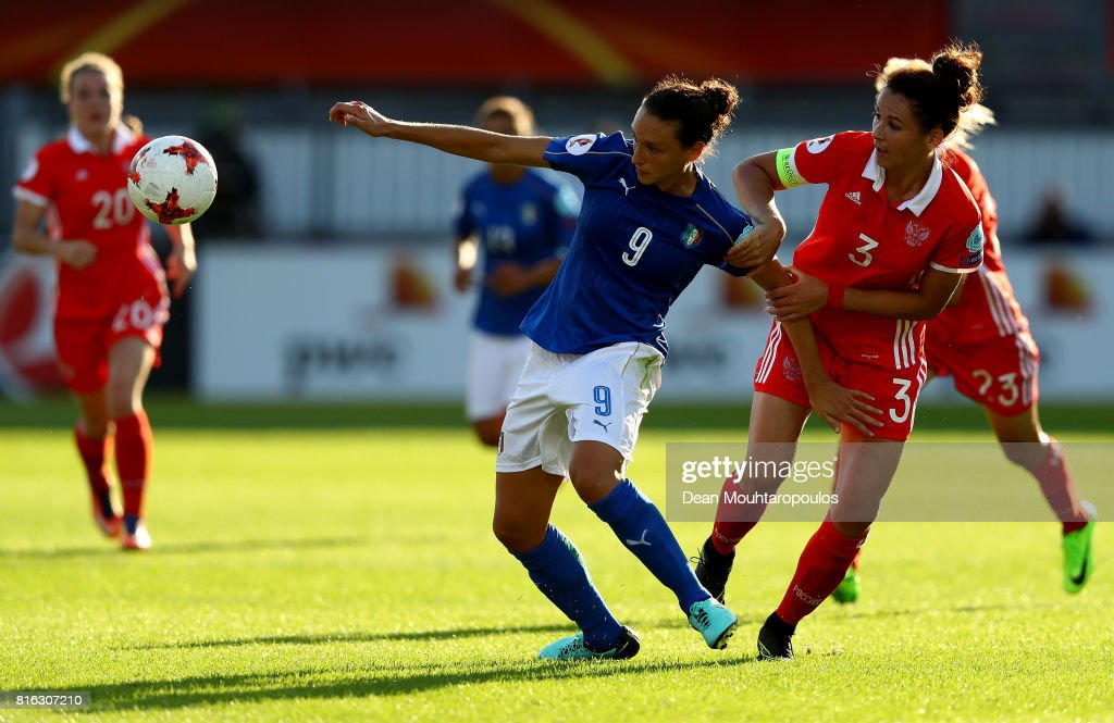 Ilaria Mauro #9 of Italy and Anna Kozhnikova of Russia compete for the ball during the Group B match between Italy and Russia during the UEFA Women's Euro 2017 at Sparta Stadion on July 17, 2017 in Rotterdam, Netherlands.