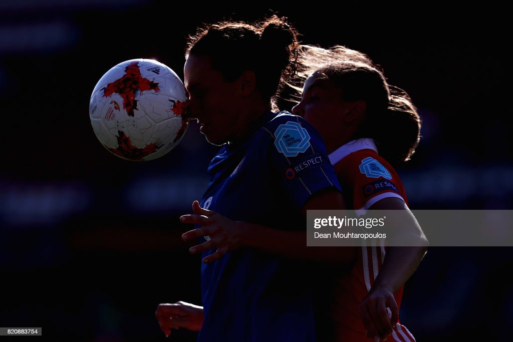 Ilaria Mauro (L) of Italy and Natalya Solodkaya of Russia compete for the ball during the Group B match between Italy and Russia during the UEFA Women's Euro 2017 at Sparta Stadion on July 17, 2017 in Rotterdam, Netherlands.