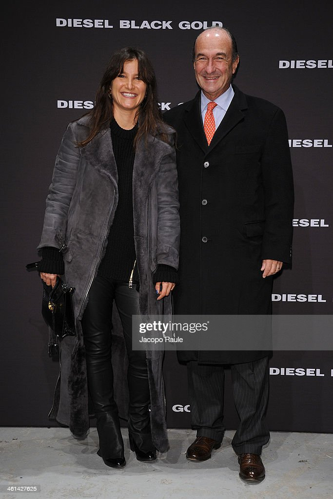 Ilaria Norsa and Michele Norsa attend Diesel Black Gold fashion show during Pitti Immagine Uomo 85 on January 8, 2014 in Florence, Italy.