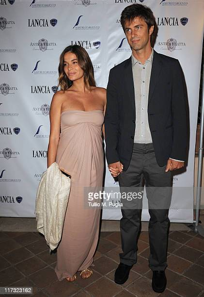 Ilaria Spada and Kim Rossi Stuart attend the Lancia Cafe 2011 Nastri d'Argento Awards Cocktail Party on June 25 2011 in Taormina Italy