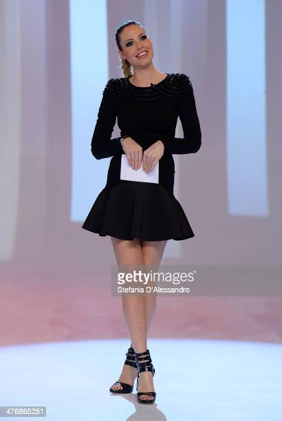 Ilary Blasi attends 'Le Iene' Italian TV Show on March 5 2014 in Milan Italy