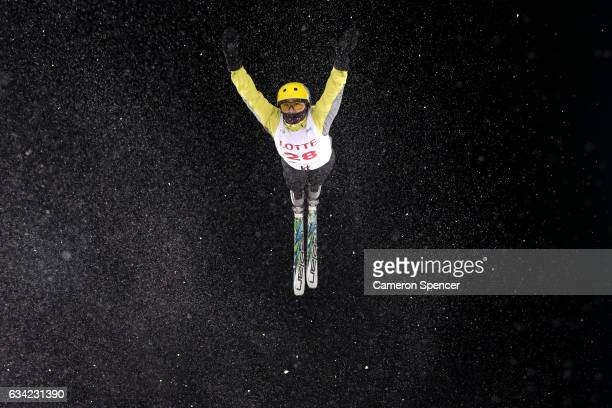 Ildar Badrutdinov of Kazakhstan performs an aerial during an Aerials training session prior to the FIS Freestyle World Cup at Bokwang Snow Park on...