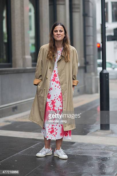 Ildara Cuias wears a Comme des Garcons dress and Adidas Stan Smith sneakers during The London Collections Men SS16 at on June 14 2015 in London...