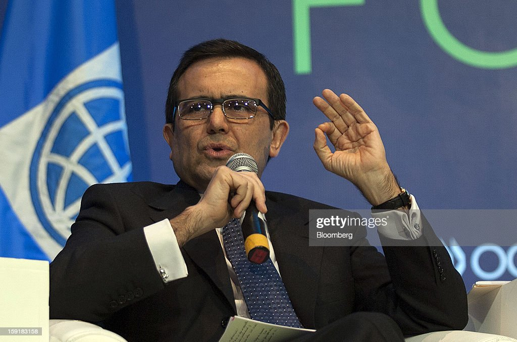 Ildefonso Guajardo, Mexico's economy minister, speaks during the Mexico Forum 2013 in Mexico City, Mexico, on Wednesday, Jan. 9, 2013. Guajardo said he favors lifting a cap on foreign fixed-line investment in Mexico. Photographer: Susana Gonzalez/Bloomberg via Getty Images