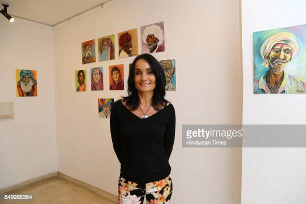 Ildiko MorovszkiHalasz during an exhibition to celebrate the legacy of iconic artist Amrita SherGil and works by Hungarian artist Ildiko...