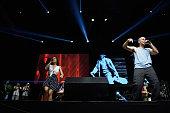 Ileana Cabra Joglar aka PG13 and Rene Perez Joglar aka Residente of Calle 13 perform on stage at Barclaycard Center on July 2 2015 in Madrid Spain